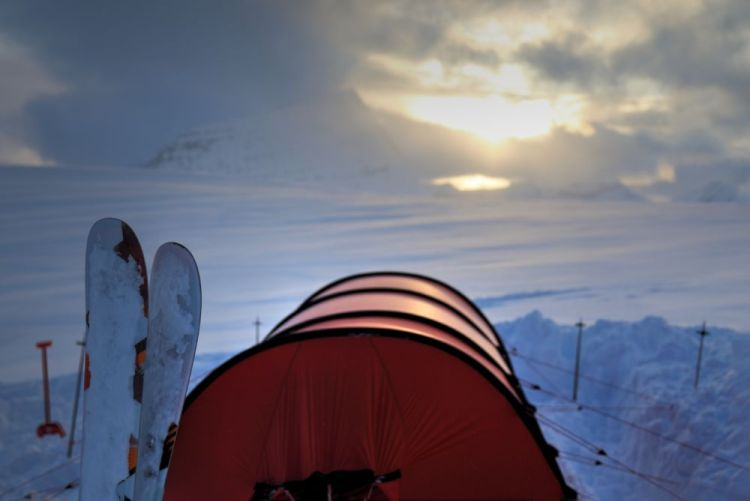 Jake's coldest moment - Camping on the Hooker Icefield. Photo by Ben Nearingburg.