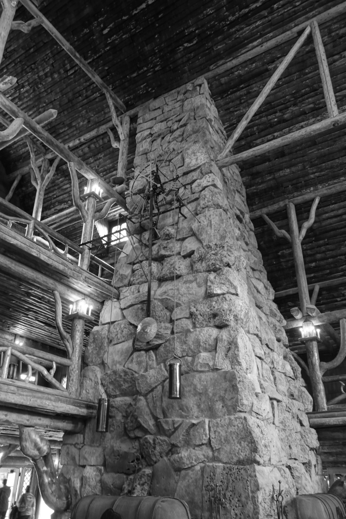 The main lobby in the Old Faithful Inn.