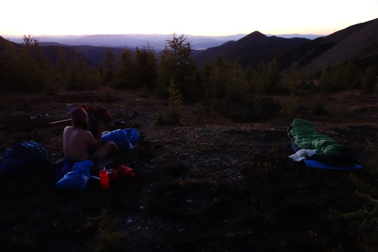 If the weather is good, we don't use a tent. We made it across the state of Wyoming without using a tent. Pretty neat, eh? This picture is all the way back in Montana, going through the Pintler Wilderness.