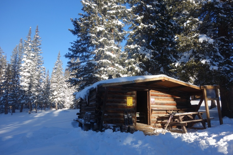 Although this cabin had a rat feces problem, it was most welcome in the snow and cols.