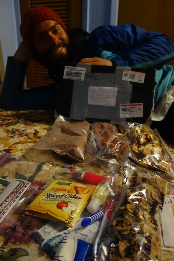 """The joys of meeting other long-distance hikers. We met """"Kickapoo"""" in Winter Park, Colorado. She sent us a package a food in Chama, some dehydrated goodies with jokes (What do you call a pile of cats? A meowtain!)"""
