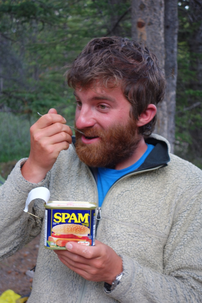 Glorious Spam! There aren't many instances in life where you can walk to a gas station and buy a can of spam, bucket of ice cream, chips, chocolate bars, pineapple (to keep up the