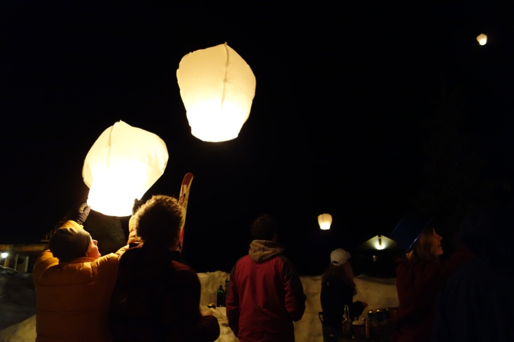Letting off Chinese lanterns at Last Frontier.